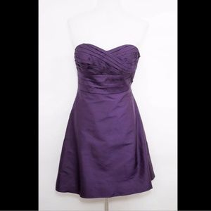 ANN TAYLOR 100% SILK PLUM PURPLE STRAPLESS DRESS